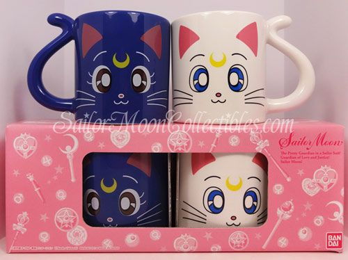 Sailor Moon Luna and Artemis mugs.