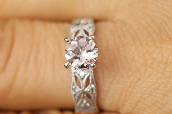Jocelyn - Morganite and White Gold Filigree Engagement Ring by DiamondDoveJewelry on Etsy https://www.etsy.com/listing/188134055/jocelyn-morganite-and-white-gold