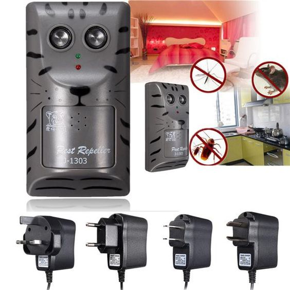 Electronic Ultrasonic Pest Rat Mosquito Mouse Insect Rodent Control Repeller Anti Mole Killer Trap Bug Chaser