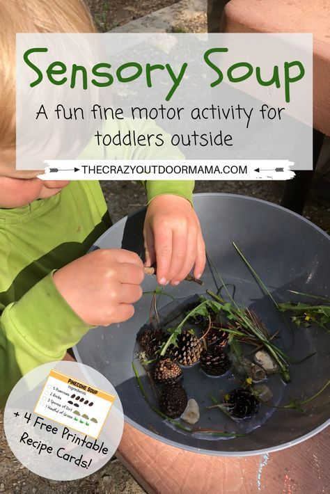 If you're looking for a fun sensory activity for your toddler or preschooler, check out this sensory soup activity! This simple outdoor activity for kids is perfect for doing at camp. You can even gather your nature ingredients outdoors, and do this fun sensory play idea indoors! The free printable recipe cards will help with creativity, and your kids will love it!