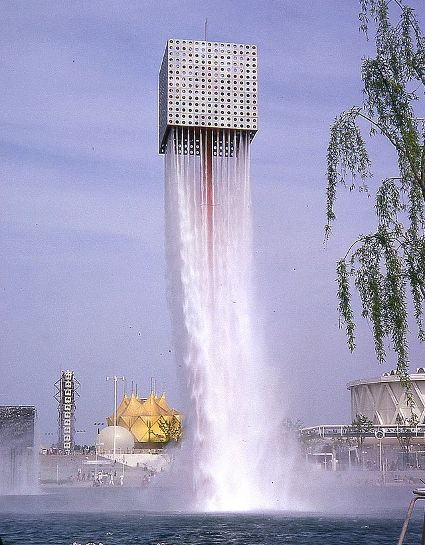 rocket building or waterfall, surreal architecture