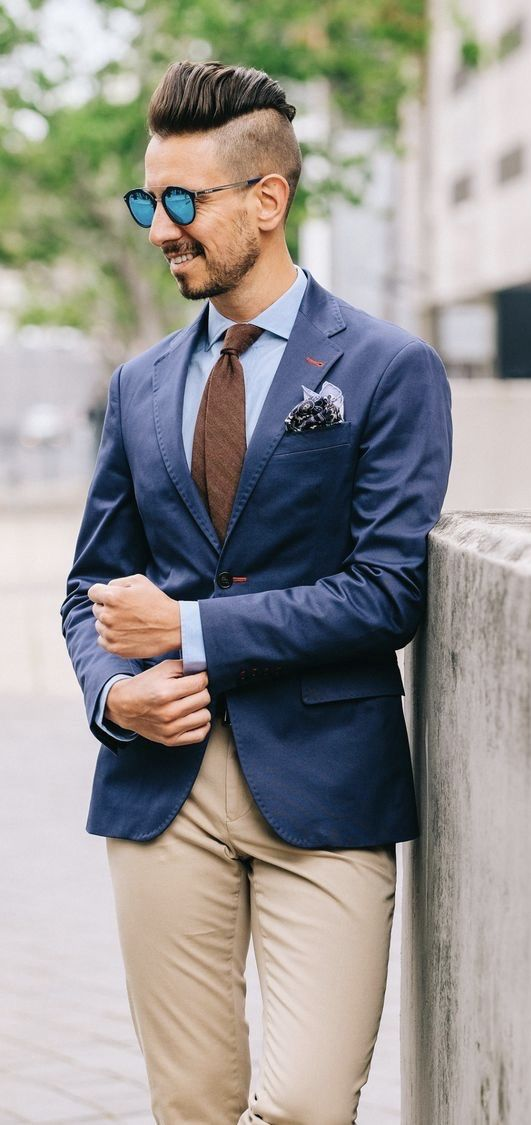 Whatmyboyfriendwore With A Navy Blazer Light Blue Shirt Brown Tie Sunglasses Pocket Square Tan Blazer Outfits Casual Business Casual Men Blue Blazer Outfit
