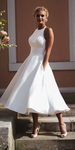 Gorgeous Tea Length Wedding Dresses ★ tea length wedding dresses simple halter neckline true bride