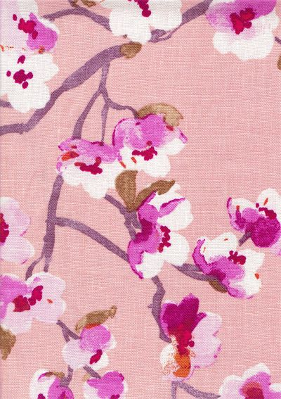 TonicLiving - Sakura, Blossom,Made of 100% Linen, upholstery weight fabric, weighs 11.5 oz or 330 grams per linear yard.