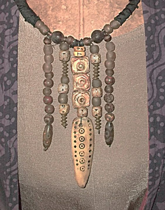Gypsy's Bohemian Camel Bone Necklace With African Trade Beads, Krobo Beads, Dzi Beads And More. Primitive. Tribal. Ethnic
