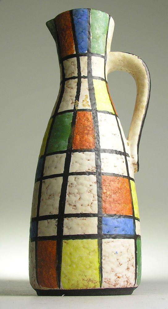 Jasba west german pottery modernist mid 20 th century for Mondrian vase