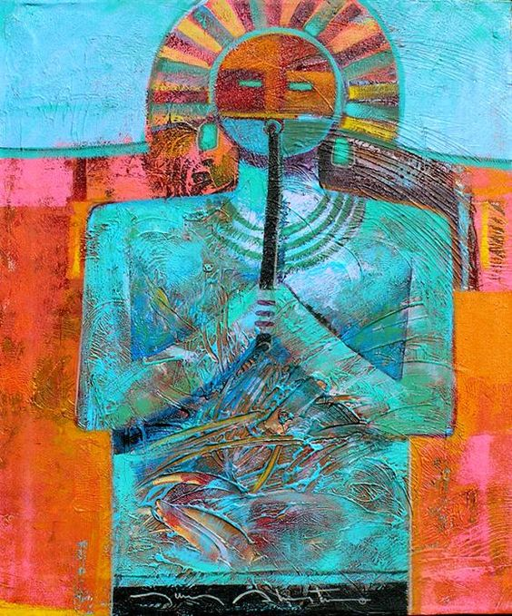 "Tony Aleyta  ""Flute Player's Song""  Mixed Media on Canvas."