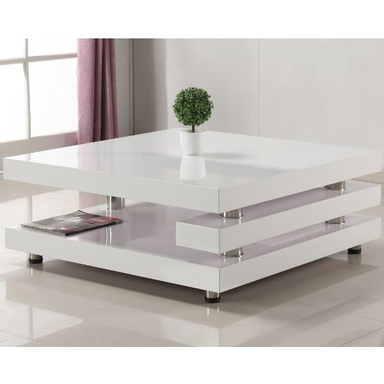 Paxton Modern Coffee Table Square In High Gloss White Centre