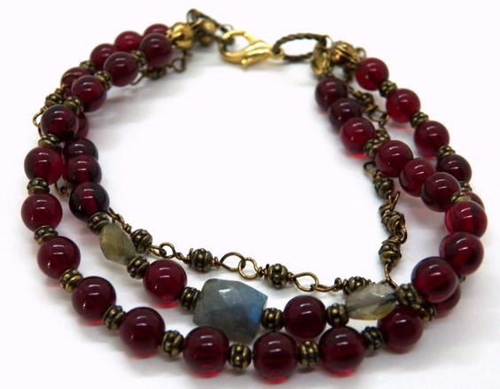 3 Strand Beaded Bracelet with Vintage Garnet Beads, Labradorite with Brass Findings and Chain