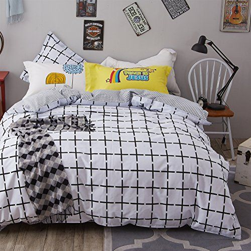 Lelva Simple Black And White Duvet Cover Set 100 Cotton Grid Pattern Design Bedding Reversible Plaid Bedding 4 P Duvet Cover Sets White Duvet Covers Bed Design