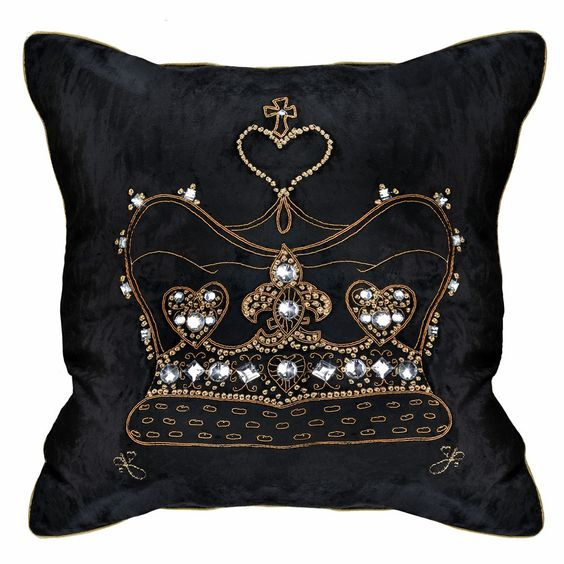 Luxe Designer Diamante Royal Crown Black Velvet Pillow, So Glamorous  Inspiring Interior Design Fans With Unique Luxury Hollywood Home Decor & Gift Ideas From InStyle-Decor.com Beverly Hills Enjoy & Happy Pinning: