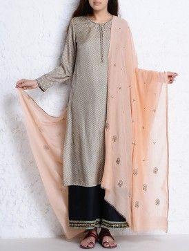 Peach Cutdana & Sequin Embellished Zari Stitch Detailed Chanderi Dupatta