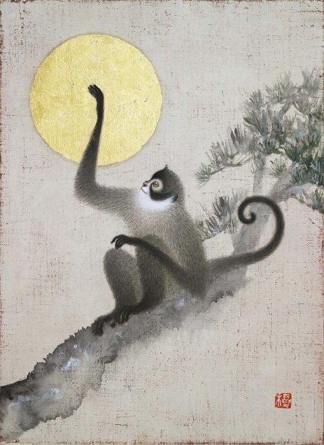 Toshiyuki Enoki, Japan. Monkey or gibbon touching moon.
