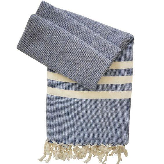 Hamamtuch, Pestemal & Fouta bei Hamamista - Hamamtuch Grace dunkelblau - handgewebt und vorgewaschen