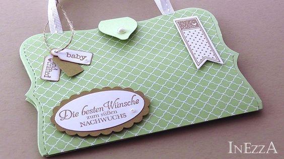 SeptemberWald Grußkarte Geburt Nachwuchs Tasche von INEZZA  -  Geschenkestübchen auf DaWanda.com