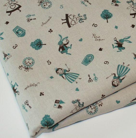 LAST 6 YARDS Kawaii Princess Witch Rabbit Cotton Linen Blend Fabric Blue - 1 Yard