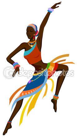 Mujer africana en brillante traje nacional bailando danza ritual