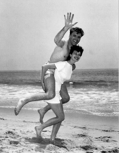 Ava Gardner carrying Burt Lancaster on her back -- strong lady.