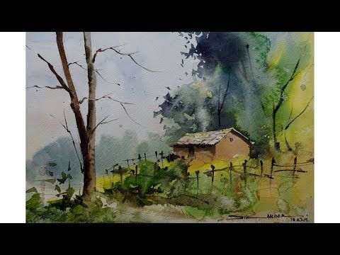 Watercolor Painting Landscape By Sikander Singh Chandigarh India