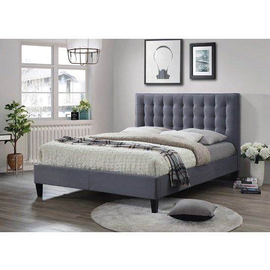 Brompton Fabric Bed In Grey With Dark Wooden Feet Furniture In Fashion Adjustable Beds Upholstered Bed Frame Adjustable Bed Base