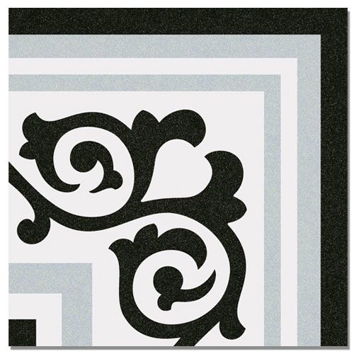 DTW Ceramics - Abstract Feature Patterned Tiles - Abstract Gilbert Gris Corner Floor Tile 20 x 20