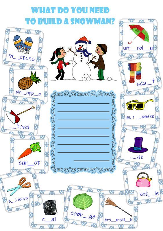 snowman building worksheet # winter activity worksheet # esl ...