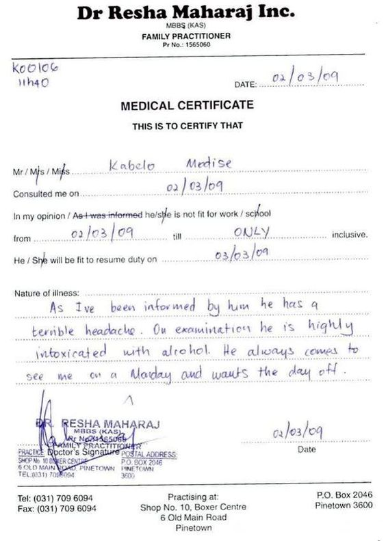 funny sick note droll Pinterest Sick - medical certificate for sick leave