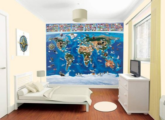 Nice Map of the World Wallpaper Mural This wallpaper mural is made up of the map of