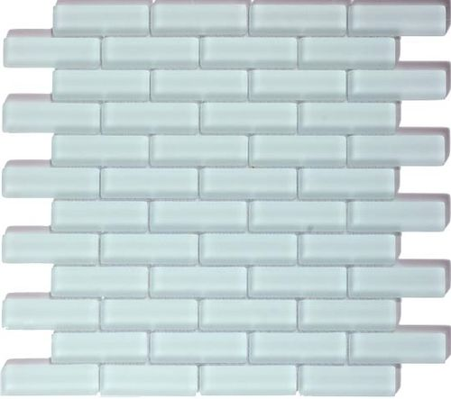 The Crystile series 1 x 3 glass mosaic tile color ice mist matte C02-2.  Perfect…