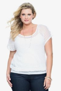 White Burnout Striped Dolman Top | Tops