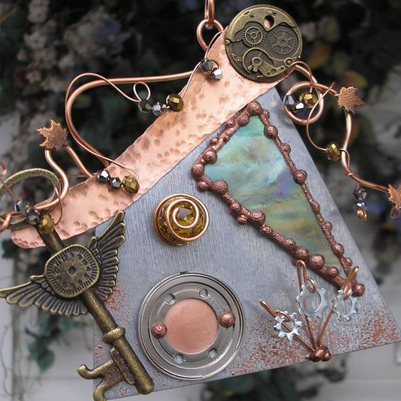 Steampunk Fairy House - Stained Glass - Copper Steel Crystal Gear Key Clock. $62.00, via Etsy.