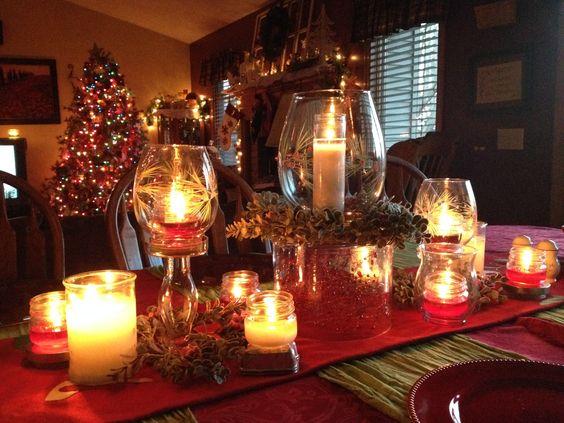 Christmas centerpiece, Christmas dinner, candlelight, tablescape