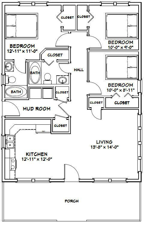 28x36 House 3 Bedroom 2 Bath 1 008 Sq Ft Pdf Floor Plan Model 1d 29 99 Picclick Floor Plans Bedroom House Plans Shed Plans