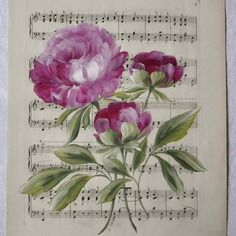 Reservetableau bouquet de pivoines peintes sur papier ancien