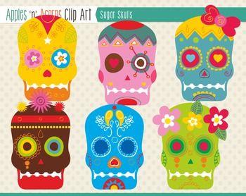 Sugar Skulls Clip Art - color and outlines $
