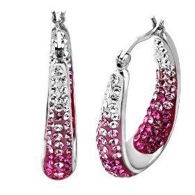 Carnevale Sterling Silver Faded Pink Made with Swarovski Elements Hoop Earrings  $69