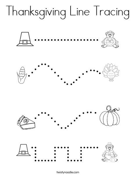 Thanksgiving Line Tracing Coloring Page - Twisty Noodle Thanksgiving  Worksheets Preschool, Thanksgiving Activities Preschool, Thanksgiving  Preschool