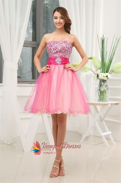 Hot Pink Short Strapless Prom Dresses- Hot Pink Semi Formal ...