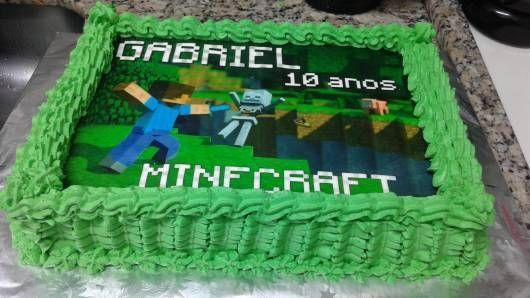 Bolo Verde Com Papel De Arroz Fiesta De Cumpleaños Minecraft Tortas Minecraf Piñata De Minecraft
