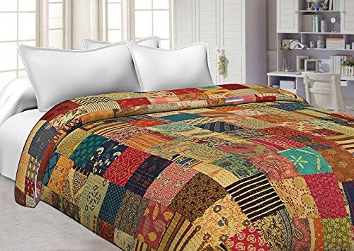 Indian Reversible Quilt Cotton Kantha Handmade Blanket Bedspread Twin SIze
