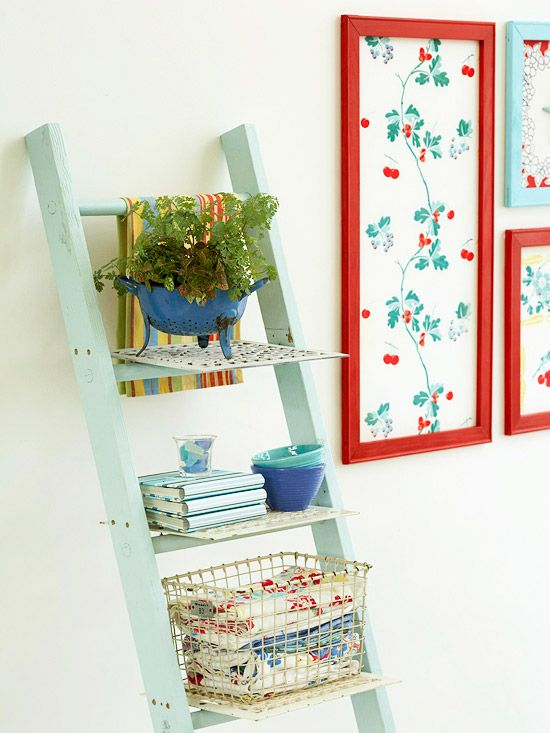 Give a retired ladder a new life and add storage space and vintage charm to any room. Simply screw vent grates in place on each rung. Paint the ladder a color that matches the rest of your decor.