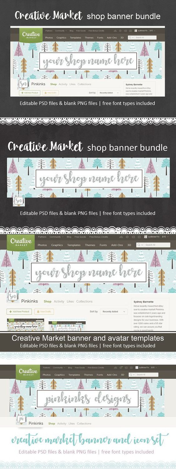 Shop banner and avatar set for CM. Script Fonts