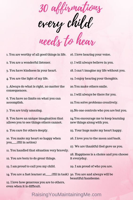 30 Affirmations Every Child Needs To Hear: Affirmations are an easy tool to build confidence in children and encourage positve behavior. Here are 30 affirmations to start saing to your children now.