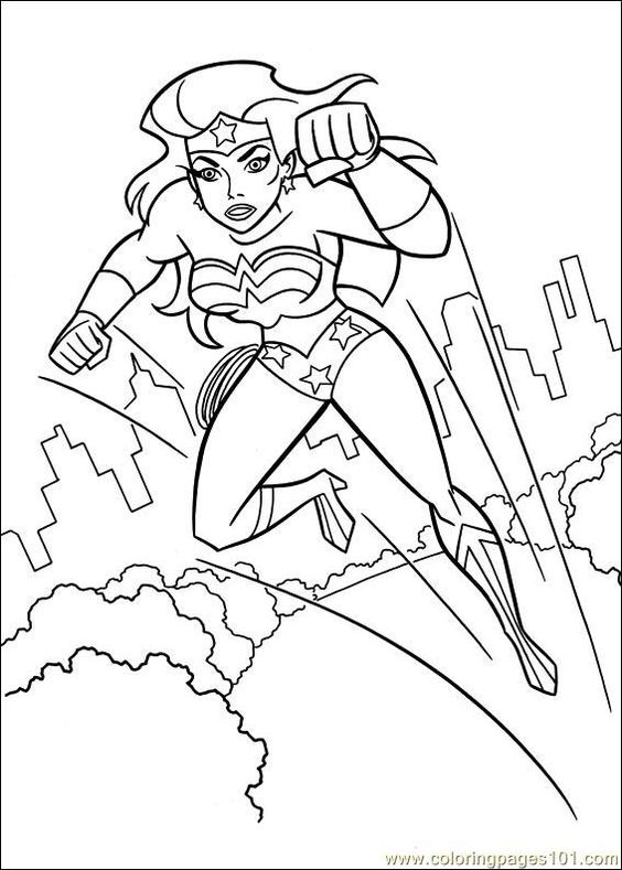 Wonder woman, Cartoon and Free printable coloring pages on