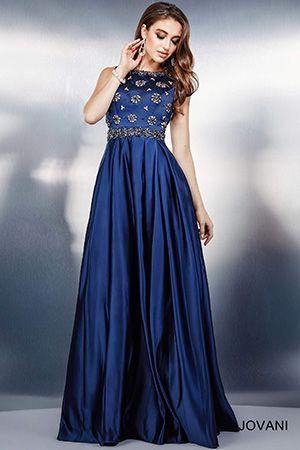 Navy Empire Waist Evening Dress 28931  My Gowns  Pinterest ...