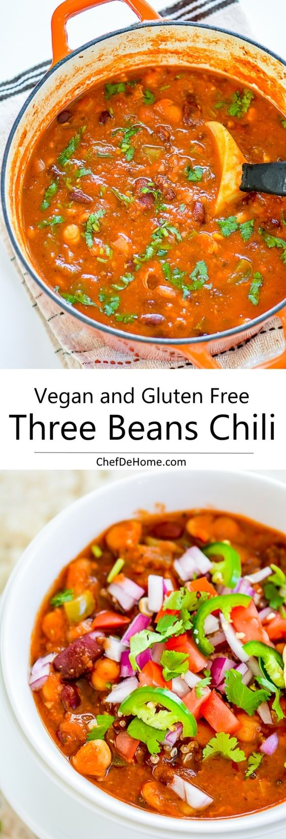 Easy Vegetarian Three Beans Chili with Chickpeas | Recipe | Bean Chili ...