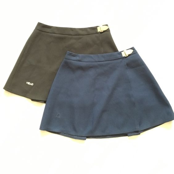 """Vintage wrap around tennis skirt Wrap around tennis skirts by way of hook closure. By tennis brand Head, in black and dark navy blue, logo is embroidered on the right side above hem (see photos). Small pleat in the back. Black: waist 13"""", length 13"""". Navy: 12.5"""", length 13.5"""". Vintage Skirts Mini"""
