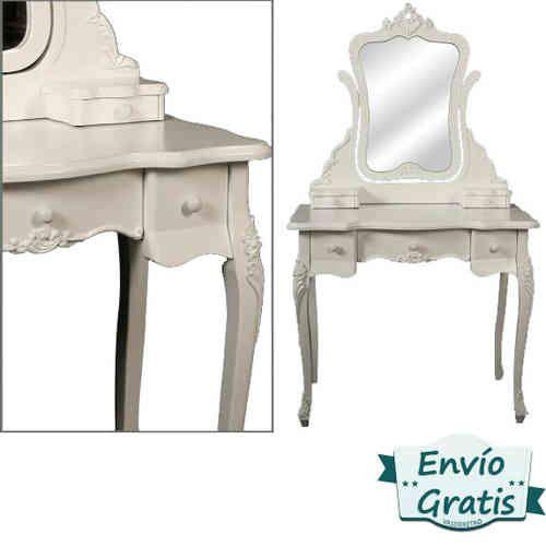 Tocador vintage de madera blanca decap con espejo - Tocador con espejo ...