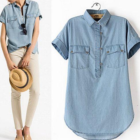 Chambray Blouse - Vintage Light Denim Half Button Down Shirt ...