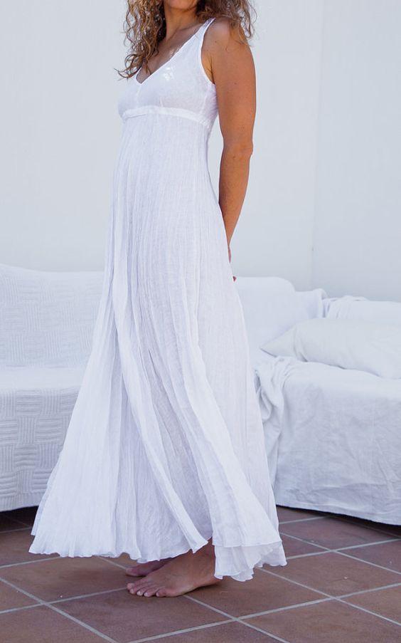 Long white linen dress maxi high waistline summer for Summer maxi dresses weddings